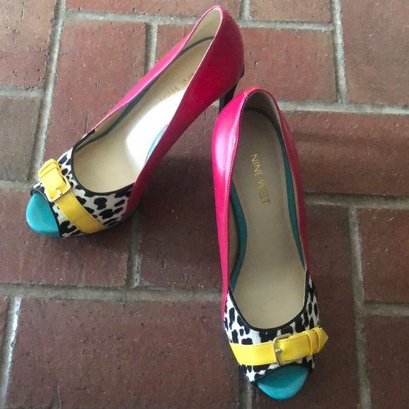 Nine West Shoes - Nine West Pink & Teal Heels with Leopard